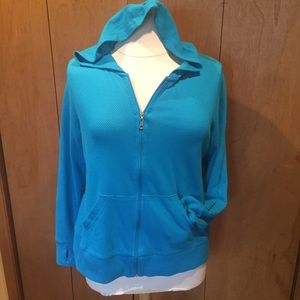 1X Exertek bright blue zip up lightweight hoodie